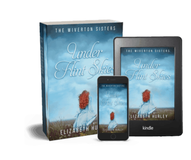 Under Flint Skies by Elizabeth Hurley. Available as ebook and paperback. Features a red headed girl in a big blue dress walking across a field